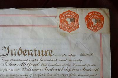 Antique 1890 English Indenture Vellum 27 Property Seal Stamp Deed Hackney London