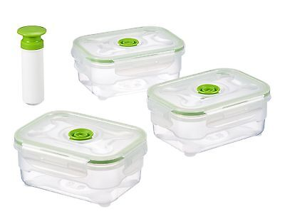 vacuumSaver air&liquid tight food containers. Storage boxes. Set of 3 x 6... NEW