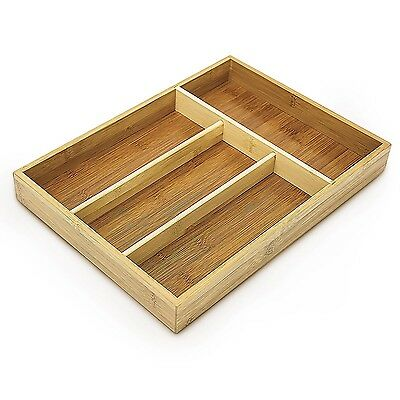 Relaxdays Bamboo Silverware Organiser with 4-Compartment Drawer Organiser... NEW