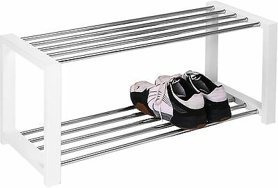HomeTrends4You 838326 Shoe Bench 80 x 32 x 30 cm White Chrome-Plated NEW
