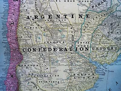 Argentina Peru Atlantic Ocean Islands Map 1894 George F. Cram Atlas Page Vintage