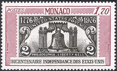 Monaco 1976 American Revolution 200th/Liberty Bell/S-on-S/Stamp-on 1v (n43763)