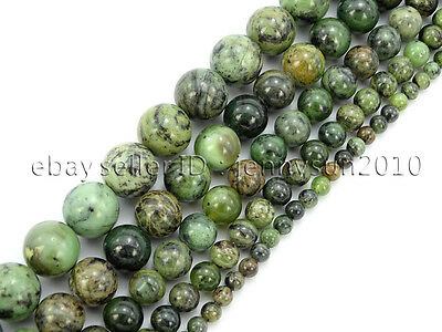 Natural Dendrite Green Jade Gemstone Round Spacer Beads 15.5'' 4mm 6mm 8mm 10mm