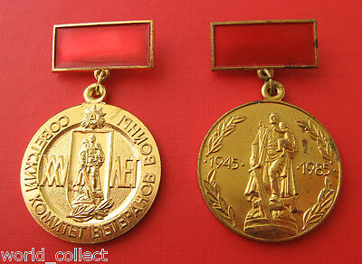 Soviet WWII Two Veteran medal badge awards 25 and 40 years of Patriotic war