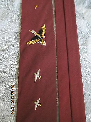"""Vtg 1950S Mens Neck Tie~Brown With Embroidered Pheasants~Nice Condition~2 1/4"""" W"""