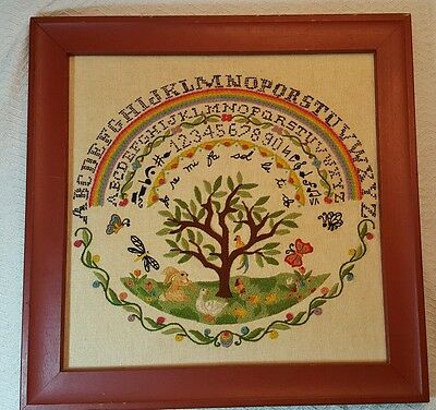 VINTAGE Needlepoint Sampler ABCs Alphabet Embroidery Folk Art Wood Frame AAFA