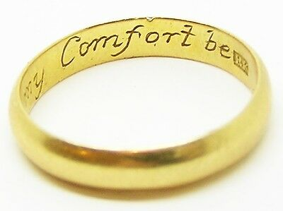 "Delightful 18k Gold Posy Wedding Ring ""In God & thee my comfort be"" Size 9 1/2"