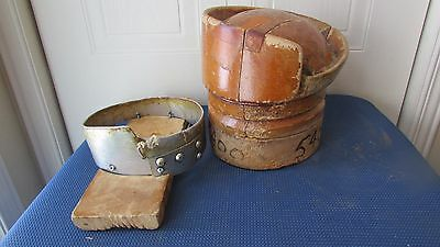 """GREAT Antique Wood Wooden Block Form Mold Millinery 5 PIECES PUZZLE Size 22"""" #6"""