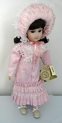 "Seymour Mann Musette Antique Reproduction 18"" Porcelain Doll with Stand"