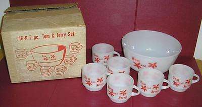 Vintage Anchor Hocking Fire King Tom & Jerry 7 Pc Set W/box