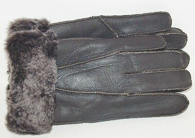 Mens Handmade Genuine Brown Sheepskin Leather Shearling Fur Warm Gloves  M-L