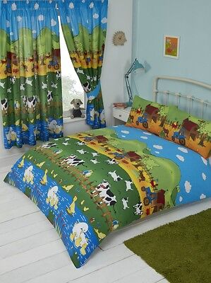 Kids Fun Bedding Farmyard Friends Cows Ducks Sheep Duvet Cover Set Or Curtains