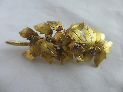 Vintage c1950 Sterling Silver Gilt & Ruby Vendome Christmas Holly Brooch 11185