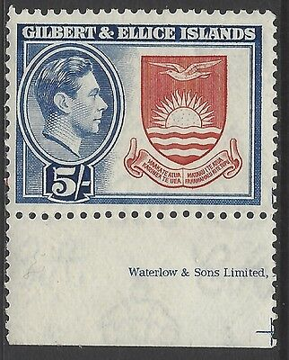 GILBERT & ELLICE IS., 1939 5/- top value w/imp margin, unmounted mint MNH, SG#54