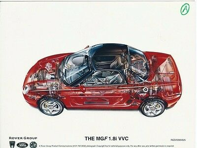 MG MGF 1.8i VVC Original Technical Drawing Sketch Cut Through Ghost Drawing 1995