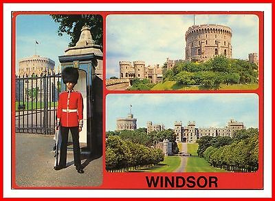 Scots Guards Sentry On Duty At Windsor Castle Berkshire Multivew Postcard
