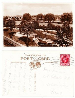 Early Postcard,Hertfordshire,Watford, Recreation Ground, Showing Swings, 1935 RP