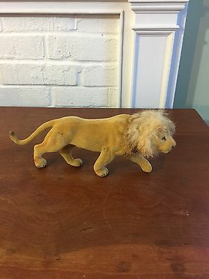 Vtg Flocked Lion Figurine Figure Wild Jungle Zoo Animal Brown Plastic Hong Kong