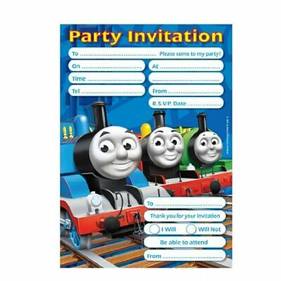 Pack of 20 Thomas the Tank Engine Birthday Party Invitations with Envelopes
