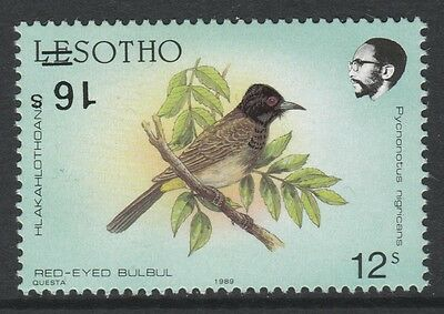 Lesotho (615) 1990 BIRDS 16s on 12s with SURCHARGE INVERTED u/m