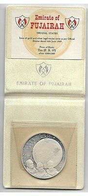 Fujairah coins,10 Riyals 1969 Moon, Collins, Armstrong, Aldrin silver proof