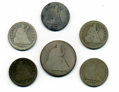 Genuine 5 Different Seated Liberty Quarters & One Silver Seated Liberty 50c