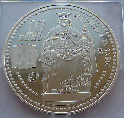 Spain 2008 10 Euro «Alfonso X El Sabio» Silver Proof!!!