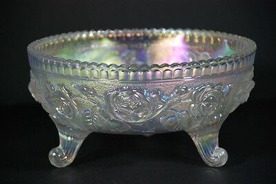 Vintage Imperial White Rose Iridescent Carnival Glass Footed Bowl #489