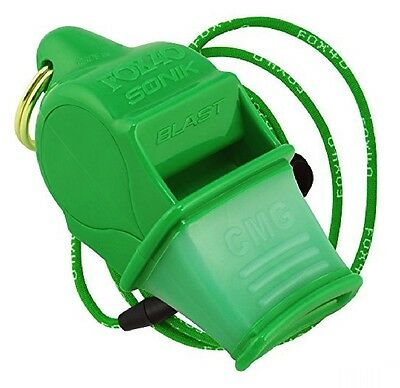 Fox 40 Sonik Blast CMG Whistle Lanyard Referee Coach Outdoor Dog Safety Green