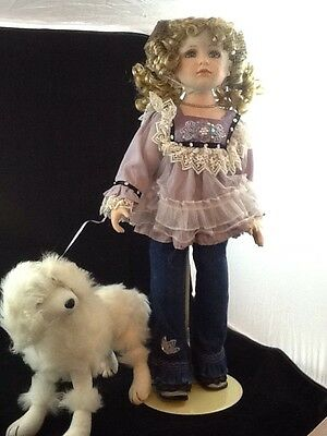 Porcelain Duck House Heirloom Doll & Poodle Lot 1458