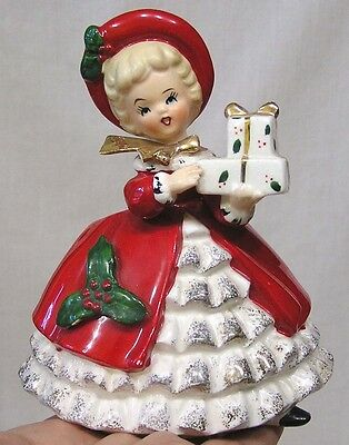 Vintage Christmas Inarco Lady Planter Red Coat Holly Gifts E-1133