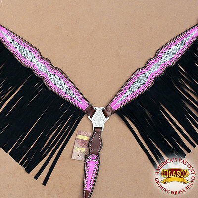 Hilason Western Leather Horse Breast Collar Pink Silver Black Fringes Crystals