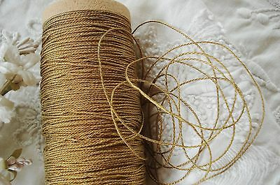 2y ANTIQUE VINTAGE FRENCH 3-PLY GOLD METAL METALLIC THREAD FLOSS CORD TYING TRIM