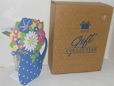 """Avon Gift Collection - Blooming Florals Vase flat faux flower pitcher front 7.5"""""""