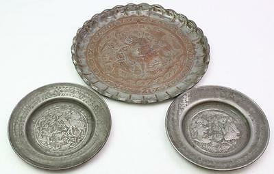 3 Antique India Indian Zinc Over Copper Hand Made Chased Trays Figural Scenes