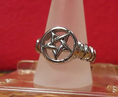 FASHION JEWELRY-RING-WICCAN STAINLESS STEEL UNISEX PENTAGRAM sz11