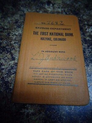 Vintage Holyoke, Colorado THE FIRST NATIONAL BANK savings booklet