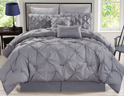 8 Piece Rochelle Pinched Pleat Gray Comforter Set