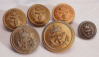6 Imperial German Navy Tunic Buttons - Wwi Or Earlier   (B23)
