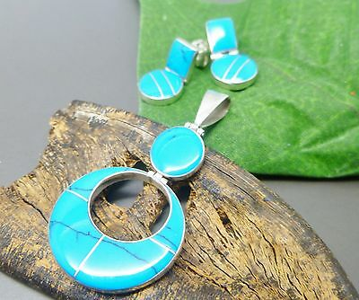 TAXCO MEXICAN 925 STERLING SILVER BLUE TURQUOISE Earrings Pendant Set SIGNED