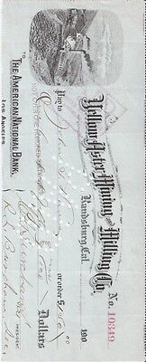 Antique 1907 Yellow Aster Mining Co. Check Randsburg Ca.  .