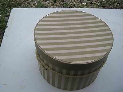 Vintage ?? Unmarked Gold Stripes Round Hat Empty Box good for decor