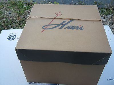 Vintage ?? Heer's Brown and Mixed Hat Empty Hat Box great decor