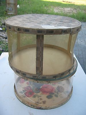 2 pc  Vintage ? Unmarked Flowers Graphics & Clear Hat Empty Hat Box great decor