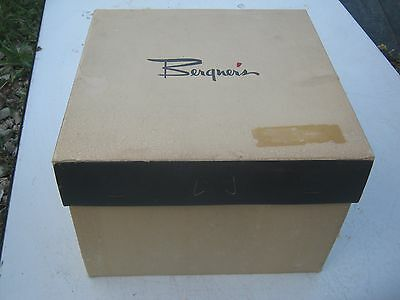 Vintage ?? Bergner's Dirty White Brown & Blue Mixed Hat Empty Hat Box