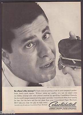 1961 Jerry Lewis Photo Consolidated Paper print ad