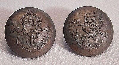 2 Matched Field Gray Imperial German Naval Buttons - Wwi Or Earlier   (B30)