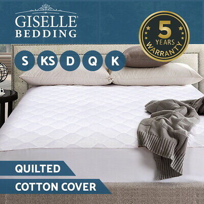 Giselle Mattress Protector Queen Cotton Cover Quilted Topper Pad Fitted All Size