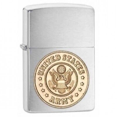 Zippo US Army Emblem Brushed Chrome Windproof Lighter Brand New