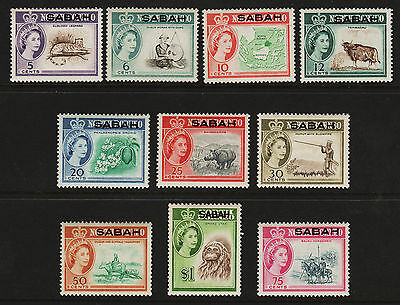 OPC 1964 Malaysia Sabah Ovpt on North Borneo QEII Lot of 10 All MNH